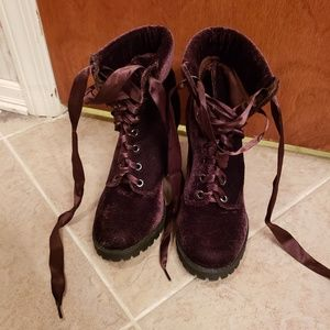 Size 5 brown velvet ankle boots